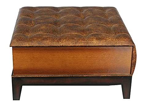 Essential Decor Entrada Collection Leather Coffee Table, 36.22 by 35.43 by 18.9-Inch, Brown