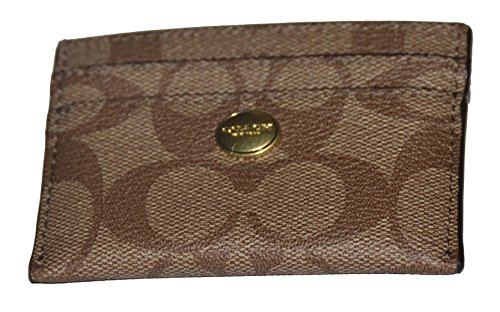 Coach   Coach Peyton Signature Embossed Canvas Card Case Khaki / Persimmon F62633