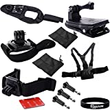 Eggsnow 360 Rotation Vented Helmet Head Strap + 360 Swivel Wrist Strap + 360 Rotation Bag Backpack Strap Clip + Glove-Style Hand Arm Band + Chest Strap + 3 Screws for Gopro Hero 3+ 3 2 1