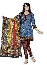 Araham Blue Printed 100% Cotton Unstitched Salwar Suit Dress Material