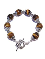 Brown Tiger's Eye Gemstone Handmade Bracelet 20.5cm