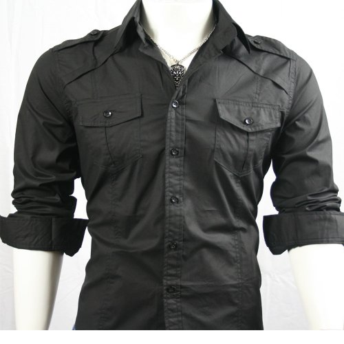 GL Fashions Men's Casual Strap Shoulder Long Sleeve Dress Shirt - Black - M