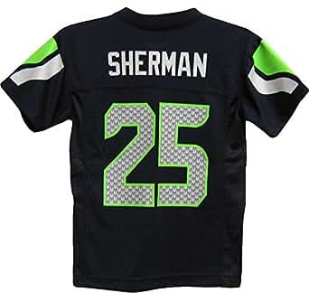 Richard Sherman Seattle Seahawks Navy Blue NFL Youth 2014-15 Season Mid-tier Jersey (Large 14/16)