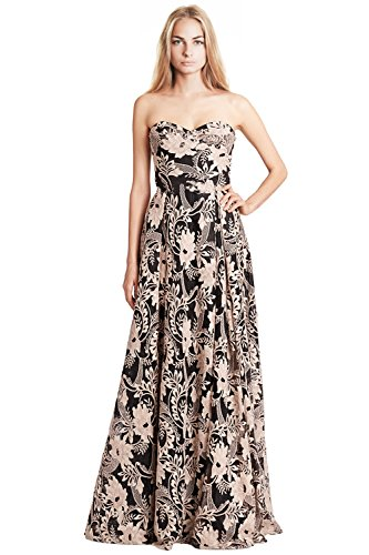 Marchesa Notte Black Strapless Sequined Embroidery Gown Dress