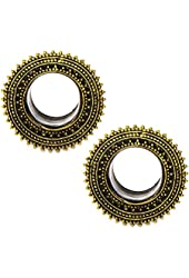 """Tribal Beaded Brass Tunnel Double Flare Plugs - 0G-1"""" - Pair"""