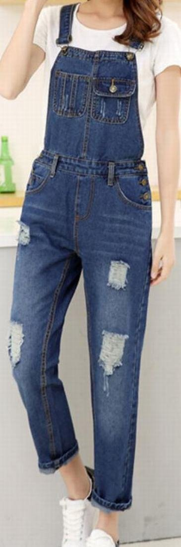 Yayu Women Fashion Denim Trousers Vintage Hole Overalls 1