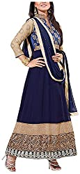 Fashions World Women's Georgette Dress Material (Blue)