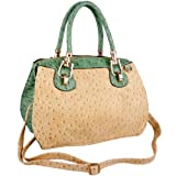 MG Collection MARISSA Green Ostrich Top Double Handle Doctor Style Handbag