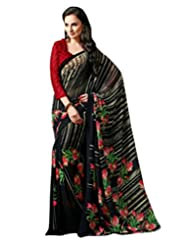 Black Color Georgette Printed Saree With Blouse 7026