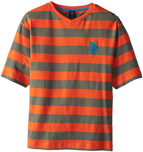 U.S. Polo Assn. Big Boys' Short Sleeve V-Neck Stripe T-Shirt, Orange Popsicle, 14/16