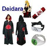 Traje de Cosplay para cosplay Naruto Akatsuki Deidara Ninja Set- Capa con capucha(S:Tamaño 150cm-158cm)+caja de lápiz+Deidara diadema+anillo+zapatos