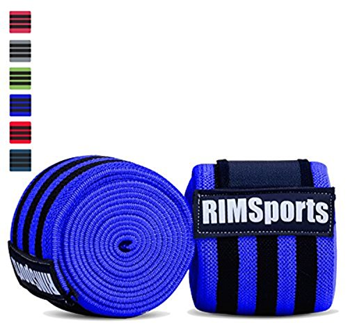 RIMSports Knee B&s Weight Lifting With Velcro - Best Knee Straps Weightlifting - Premium Leg Wraps Weightlifting , Gym Workout & Fitness For Men & Women- 80