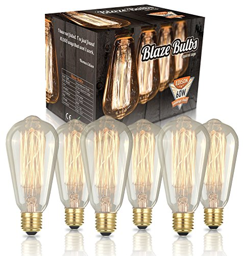 Edison Vintage Bulbs - 6 pack - 60W Incandescent - Clear Glass - ST64 Squirrel Cage - Dimmable (Small Rustic Ceiling Fan compare prices)