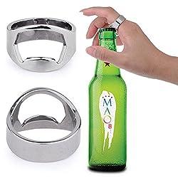 PackNBUY SILVER Set of 2 Stainless Steel Finger Ring Bottle Openers for Coke Beer
