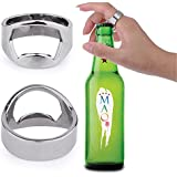 PackNBUY SILVER Set Of 2 Stainless Steel Finger Ring Bottle Openers For Coke Beer