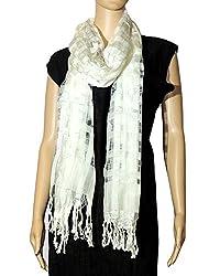 FEMEZONE Women's Viscose + Nylon + silk net dupatta (FEM1032, White)