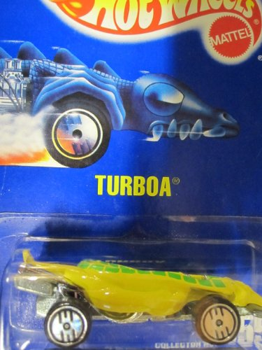 Turboa (Snake Car) 1991 Hot Wheels #155 Yellow with Ultra Hots on Solid Blue Card