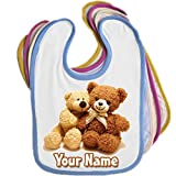 Teddy Bear Personalised Baby Bib Blue Pink Yellow or White