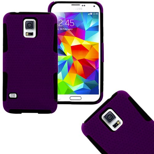 Mylife (Tm) Deep Plum Purple And Black - Perforated Mesh Series (2 Layer Neo Hybrid) Slim Armor Case For The New Galaxy S5 (5G) Smartphone By Samsung (External Rubberized Hard Shell Mesh Piece + Internal Soft Silicone Flexible Gel + Lifetime Warranty + Se