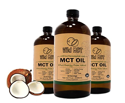 100% Pharmaceutical Grade MCT Oil, Wild MCT, Made in USA, 32-fluid Oz Glass bottle, Guaranteed Quality, C8/C10 Blend, Great For Smoothies, Salads, Coffee, and Shakes (Mct Oil Pharmaceutical Grade compare prices)