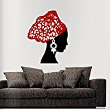 Fashionable African Woman Vintage Earrings Scarf Art Wall Vinyl Decal Sticker Mural Wallpaper Home Decoration 60x75cm Christmas