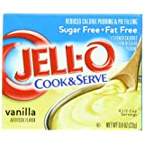 Jell-O Cook & Serve Pudding & Pie Filling, Sugar-Free, Fat Free, Vanilla, 0.8-Ounce Boxes (Pack of 24) ~ Jell-O