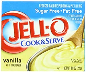Jell-O Cook & Serve Pudding & Pie Filling, Sugar-Free, Fat Free, Vanilla, 0.8-Ounce Boxes (Pack of 24)
