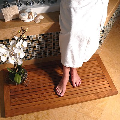Rectangular Teak Floor and Shower Mat (Teak Honey Brown Oiled Shine) (1