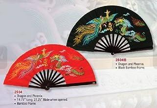 Bamboo Kung Fu Fighting Fan Dragon And Phoenix Black