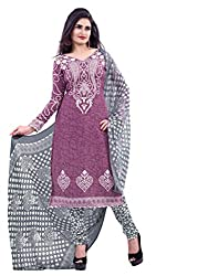 DnVeens Purple Chudidar Printed Unstiched Dress Material for Women