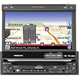 #9: Jensen VM9414 Single DIN MultiMedia Receiver with 7-Inch Inch Flip Out Touch Screen, Integrated Navigation System
