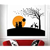 Hoopoe Decor Rabbit And Bear Wall Stickers And Wall Decals, Best Wall Arts For Home Decoration - Multicolour