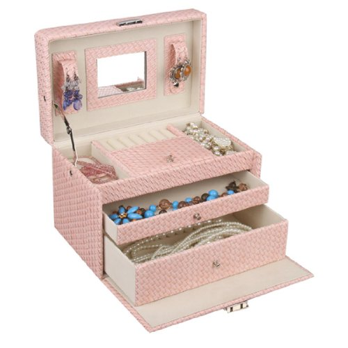 [Rowling] Jewelry Box Case Watch Display Organizer Gift Box Faux Leather Zg091 (Baby Pink) front-1071754