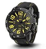 [ACI-NDG] 選べる 7 色 メンズ レディース 3D 立体 ビッグフェイス 腕時計 アナログ 表示 シンプル デザイン ラバー バンド スポーツ アウトドア カジュアル LEGO タイプ ウォッチ 男性 女性 腕 時計 【 BOX 時計 拭き付 】 (ブラック&イエロー)