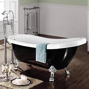 traditional small roll top black bath freestanding bathtub