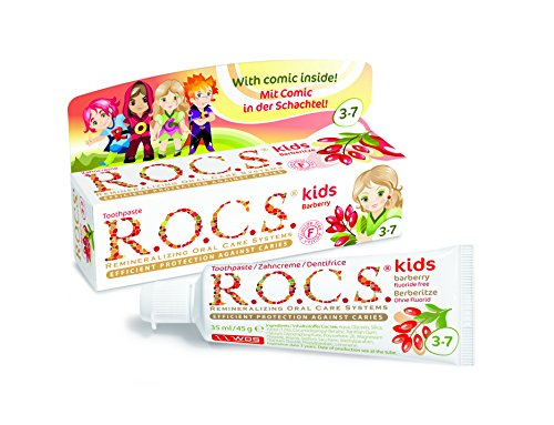 Dentifricio R.O.C.S kids Berberis / ROCS - al gusto di berberis. Senza fluoro, dentifricio efficace per i bambini dai 3 ai 7 anni