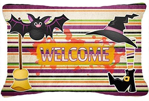 [Caroline's Treasures Witch Costume & Broom On Stripes Halloween Fabric Decorative Pillow, Large,] (Heavyweights Halloween Costume)