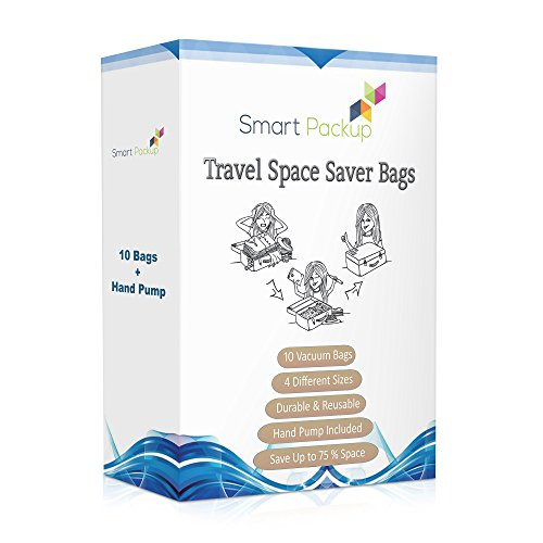 Smart-Packup Travel Space Saver Bags - 10 Vacuum Storage Bags with Hand Pump (Vacuum Bags With Pump compare prices)