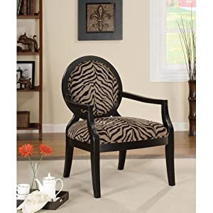 Coaster 900213 Louis Style Accent Chair with Exposed Wood Arms, Zebra Print