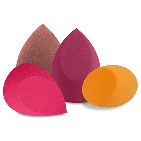 BAIMEI 4Pcs Makeup Sponge Blender Set, Multi-shape Blending Sponges for Dry & Wet Use, Multi-color Foundation, Blush Beauty Sponges