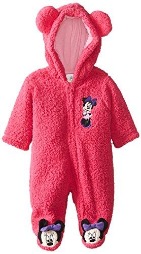 Disney Baby Baby-Girls Newborn Fuschia Purple Minnie Mouse Hooded Pram, Pink, 3 Months front-946465