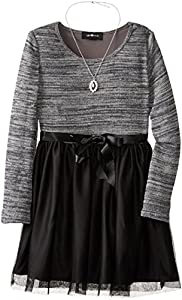 Amy Byer Big Girls' Long Sleeve Knit To Mesh Dres, Charcoal, 14