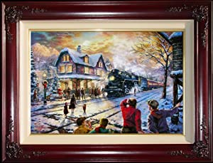 """All Aboard For Christmas 18"""" x 27"""" Standard Numbered limited edition framed Thomas Kinkade canvas artwork"""