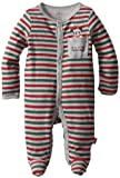 Disney Baby-Boys Newborn Mickey Mouse My First Christmas Sleep And Play Romper, Green/Grey/Red, 0-3 Months