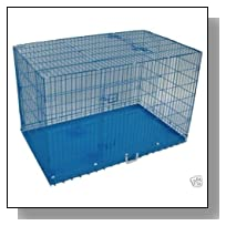 BestPet 3-Door Folding Dog Crate Cage Kennel with Divider, 36-Inch, Blue