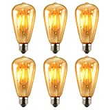 Image of Antique LED Bulb, Oak Leaf 4w ST64 Vintage Edison Dimmable Light Bulb LED Lighting Soft White 2700K pack of 6