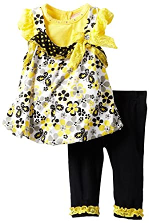 Little Lass Baby-Girls Infant 2 Piece Jumper Set with Flowers, Yellow, 12 Months