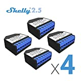 Shelly 2.5 Double Relay Switch and Roller Shutter WiFi Open Source Wireless Home Automation Dual Power Metering iOS Android Application (4 Pack) + UL Certificate