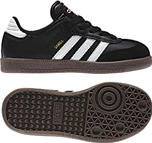 adidas Samba Classic Leather Soccer Shoe (Toddler/Little Kid/Big Kid),Black/Runing White,5.5 M US Big Kid