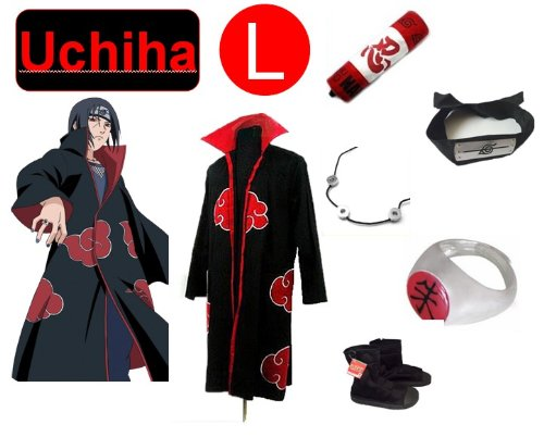 To Naruto Itachi Uchiha cosplay costume set (Akatsuki Cloak + Naruto